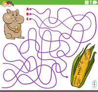 educational maze game with cartoon hamster corn cob