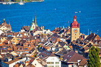 Town of Luzern historic center rooftops and towers view