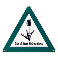 German sign isolated over white. Protected green area