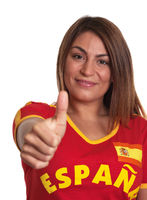 Spanish girl showing thumb up
