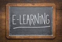 e-learning word - chalk writing on a slate  blackboard