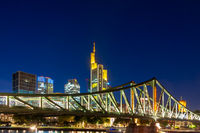 Skyline of Frankfurt at the Main river at night