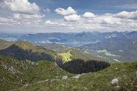 Viev from the Fockenstein peak to lake Tegernsee in Bavaria, Germany