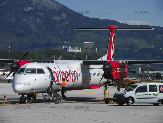 Airberlin Aircraft Bombardier Dash 8-Q400 at Salzburg Airport