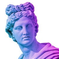 Statue of of Apollo God of Sun. Creative concept colorful neon image with ancient greek sculpture Apollo Belvedere head. Webpunk, vaporwave and surreal art style