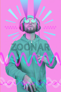 Pop art style collage. Funky bearded hipster DJ in headphone and sunglasses. Listening streaming music in smartphone player app. Contemporary art poster. Rave music nightclub party. Minimal concept.