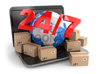 World wide delivering. Earth and boxes on laptop. 24/7