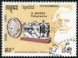 CAMBODIA -1992: shows Samuel Morse (1791-1872), telegraph, devoted EXPO-92 in Seville