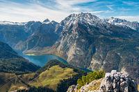 Der Blick vom Jenner über den Königssee und auf das Watzmann-Massiv, Berchtesgarden, Deutschland