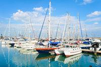 Yachts, motorboats, marina, Larnaca, Cyprus