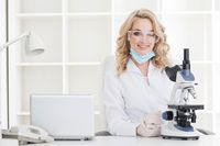 Female researcher n a lab