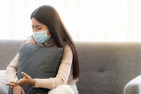 Portrait asian woman patient talking with mental health problem