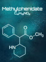 Chemical formula of Methylphenidate on a futuristic background