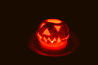Orange halloween lantern, closeup view