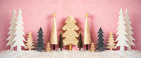 Banner, Christmas Trees, Snow, Grungy Pink Background