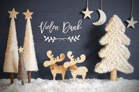 Christmas Tree, Moose, Moon, Stars, Snow, Vielen Dank Means Thank You