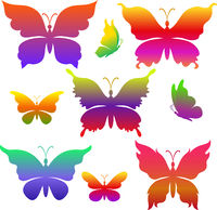 Butterflies Colorful Silhouettes
