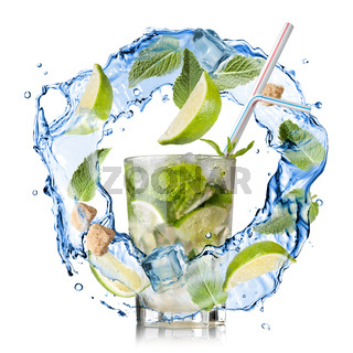 mohito - water splash with mint, lime and sugar isolated on white