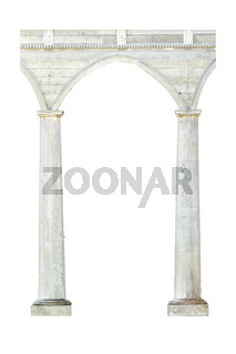 Wooden Column Entrance Isolated Photo