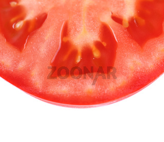 half slice of tomato isolated