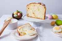 Close-up table served for traditional Easter brunch