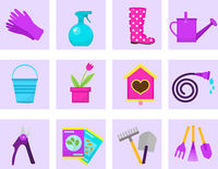 Gardening icon set, flat style. Garden and orchard collection tools and decoration, isolated on white background. Vector illustration