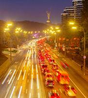 Traffic, cars, night Kiev citycsape