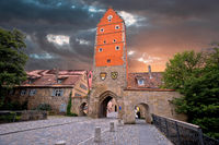 Historic town of Dinkelsbuhl tower gate view