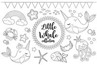 Little whale unicorn set Coloring book page for kids. Collection of design element sketch outline style. Kids baby clip art funny smiling kit. Vector illustration