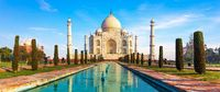 Famous Taj Mahal panorama, front view, Agra, India