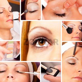 Collage einer Make Up Session