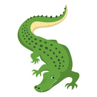 Predatory alligator crocodile with open mouth and fangs, wild animal vector isolated
