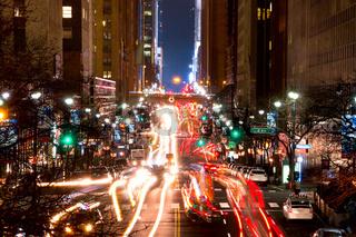 Night Traffic on 42nd Street of NYC