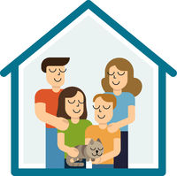 Concept housing a young family. Mother, father, son, daughter and cat in new house with a roof. Simple style vector design illustrations
