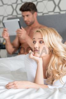 Macro Pretty Couple Partner on Bed Fashion Shoot