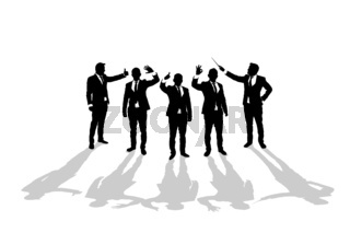 Various business man silhouettes 3