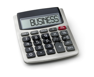 Calculator with the word business on the display
