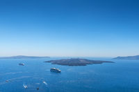 View From Fira To The Volcano In Santorini, Greece