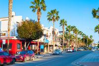 Shopping street road Paphos, Cyprus