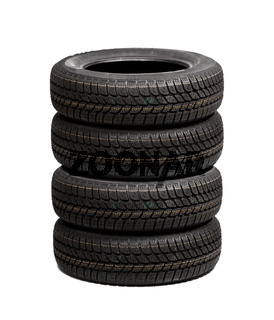 Set of winter car tires isolated on white background
