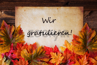 Old Paper With Text Wir Gratulieren Means Congratulations, Colorful Leaves Decoration