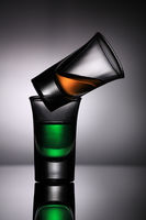 Two Drink Shot Glasses - Green and Orange
