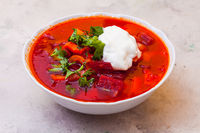 The portion of appetizing and rich borscht