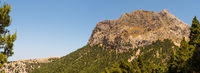 Scenic panoramic landscape with view on mountain. Beautiful nature. Theme of travel, hiking and outdoor recreation. Majorca Island, Spain