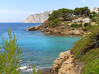 Picturesque view idyllic scenery Benissa rocky coastline. Turquoise water of Mediterranean Sea sunny day. Travel and tourism beautiful places concept. Province of Alicante, Costa Blanca, Espana. Spain