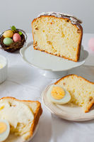 Panettone with eggs on the white table