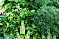 Dill and parsley. Useful herbs close up
