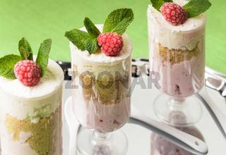 Dessert with raspberry