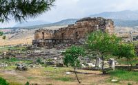 The ruins of the ancient city of Hierapolis in Pamukkale, Turkey