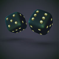 Digital 3D falling casino dices on gray background.